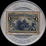 Timbre-monnaie Columbian Exposition 1892 - 1 cent - revers